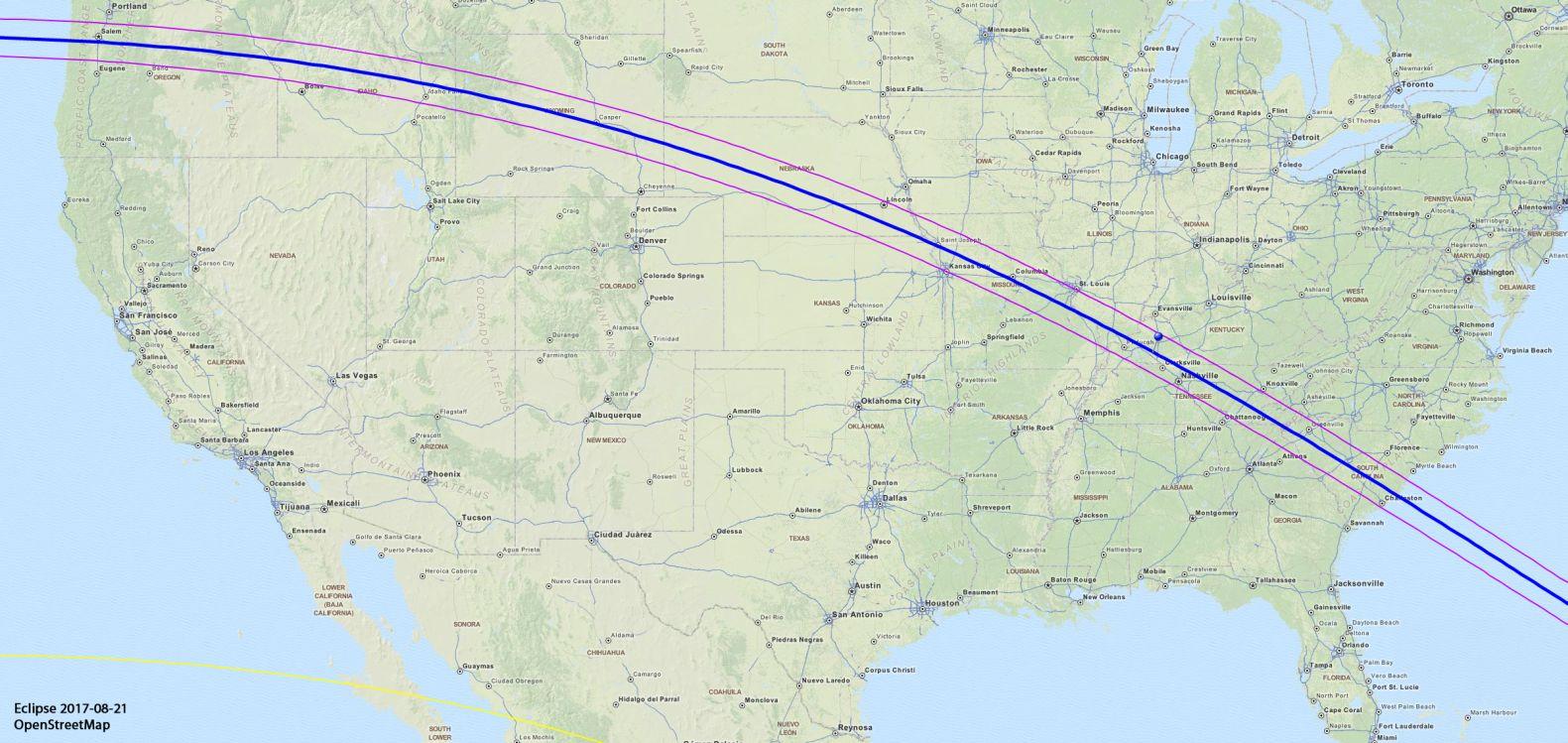 Eclipse - Us eclipse 2017 map